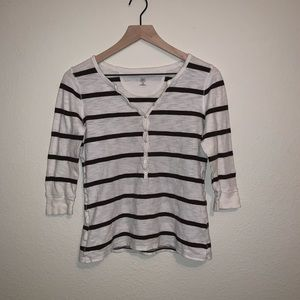 GAP Women's White and Brown Striped Top